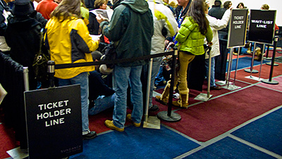 Picture of people waiting in the ticketholder line at the Sundance Film Festival