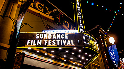 Picture of the Sundance Film Festival marquee on the Egyptian Theatre, Park City, Utah