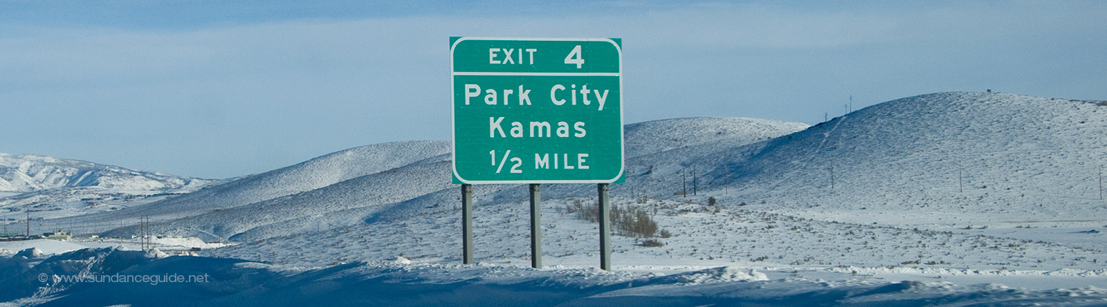 A picture of a freeway exit sign showing Park City
