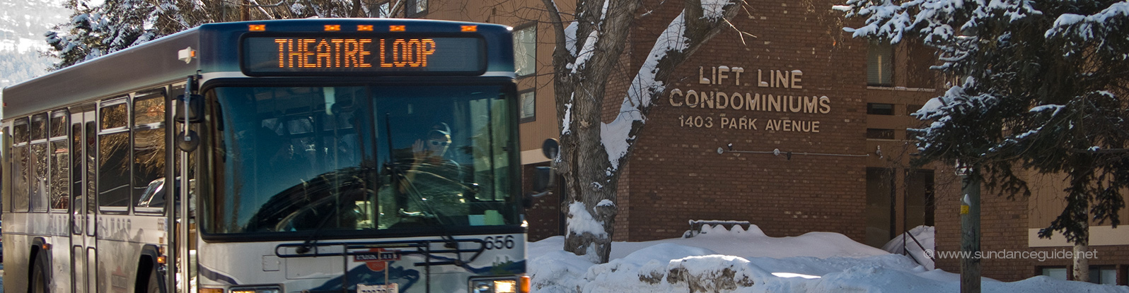 A picture of the Theatre Loop free shuttle bus for the Sundance Film Festival