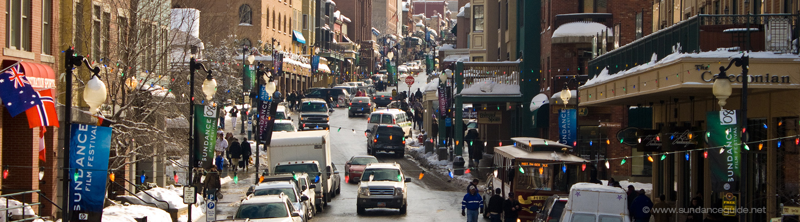 A picture of traffic and shops on Main Street, Park City, Utah