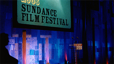 Picture of the awards podium at the Sundance Film Festival